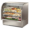 True TCGG-48-S Stainless Steel Deli Case with Curved Glass - Two Door, 23.5 Cu. Ft.