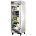 True TS-23G-LD Stainless Steel Reach-In Refrigerator with One Glass Door, 23 Cu. Ft.