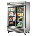 True TS-49G-LD Reach-In Stainless Steel Refrigerator with 2 Full Glass Swing Doors, 49 Cu. Ft.