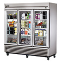 True TS-72G-LD Reach-In Stainless Steel Refrigerator with 3 Full Glass Swing Doors, 72 Cu. Ft.