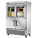 True TS-49-2-G-2 Stainless Steel Reach-In Refrigerator- Two Half Glass/Two Half Solid Door, 49 Cu. Ft.