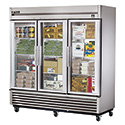 True TS-72FG Stainless Steel Reach-In Freezer - Three Glass Door, 72 Cu. Ft.