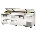 """True TPP-93D-4 Pizza Prep Table for 12 Pans - Four Drawer - One Door, 93""""W"""