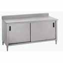 "Stainless Work Table - Sliding Doors, 72""W, 5"" Backsplash"