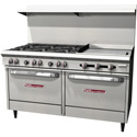 "Commercial Gas Range - Economy 6 Burners, 2 Standard Ovens, 24"" Griddle"