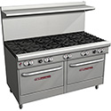 "Commercial Gas Range - 60""W, 10 Burners, 2 Standard Ovens"