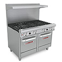 "Commercial Gas Range - 48""W, 8 Burners, 2 Space Saver Ovens"