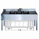 """Stainless Steel Underbar Sink 4 Centered Compartments, 84""""Wx18""""Dx33""""H"""