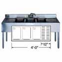 "Stainless Steel Underbar Sink 3 Compartments on Left, 48""Wx21""Dx35""H"