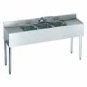 "Stainless Steel Underbar Sink 3 Centered Compartments, 60""Wx21""Dx35""H"
