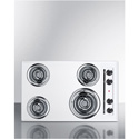 "Summit Appliance WEL05 30"" Wide 220V Electric Cooktop In White Porcelain Finish"