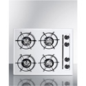 "Summit Appliance WNL033 24"" Wide Gas Cooktop In White, With Four Burners And Gas Spark Ignition;"