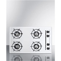"Summit Appliance WNL05P 30"" Wide Gas Cooktop In White, With Four Burners And Battery Start Ignition;"