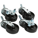 "Swivel Casters, Set of 4, 2-1/2""Diam., Two Locking"