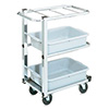 "Vollrath 97186 tubular steel with three chrome shelves-hold up to 3 standard tote boxes 5"" or 7"" deep Single Cantilever"
