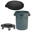 Rubbermaid 44 Gallon Gray Round Brute Container with Lid and Dolly Combo Deal
