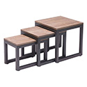 Zuo Modern 98121 Civic Center Nesting Tables, Distressed Natural