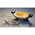 American Metalcraft SSOV1180 Basket, Oval Wire Basket W/Ramekin Holders, Mesh Bottom, Stainless Steel