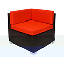Central Exclusive Aruba Corner Sofa Synthetic Wicker Back and Seat, No Cushions