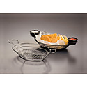 American Metalcraft BSKB811 Basket, Oval Wire Basket W/Ramekin Holders, Mesh Bottom, Black