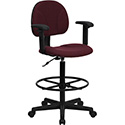 Burgundy Fabric Ergonomic Drafting Chair with Height Adjustable Arms (Adjustable Range 22.5''-27''H or 26''-30.5''H)