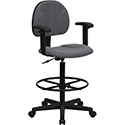 Gray Fabric Ergonomic Drafting Chair with Height Adjustable Arms (Adjustable Range 22.5''-27''H or 26''-30.5''H)