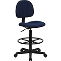Navy Blue Patterned Fabric Ergonomic Drafting Chair (Adjustable Range 22.5''-27''H or 26''-30.5''H)