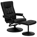 Contemporary Black Leather Recliner and Ottoman with Leather Wrapped Base