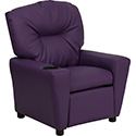 Contemporary Purple Vinyl Kids Recliner with Cup Holder