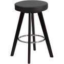 Flash Furniture CH-152600-BK-VY-GG Trenton Series 24'' High Contemporary Black Vinyl Counter Height Stool with Cappuccino Wood Frame