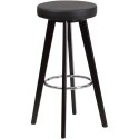 Flash Furniture CH-152601-BK-VY-GG Trenton Series 29'' High Contemporary Black Vinyl Barstool with Cappuccino Wood Frame