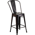 24'' High Black-Antique Gold Metal Indoor-Outdoor Counter Height Stool with Back