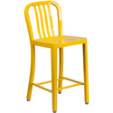 Flash Furniture CH-61200-24-YL-GG 24'' High Yellow Metal Indoor-Outdoor Counter Height Stool with Vertical Slat Back