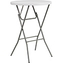"Flash Furniture DAD-YCZ-80R-2-BAR-GW-GG 32"" Round Granite White Plastic Bar Height Folding Table"