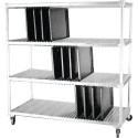 "Dinex DXIDTDR3 Dinex Drying Rack For 14"" X 18"" And 15"" X 20"" Flat Trays (120 Capacity) 63.75"" X 28"" X 74.5"" - Stainless Steel"