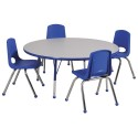 "ECR4KIDS ELR14115P4X14-GYETS Round 48"" Table GYE-TS and 4-14""YEG Chairs"