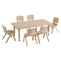 "ECR4KIDS ELR14405P6X14-SD 48"" Rect Resin Table and 6x14"" Chairs - Sand"