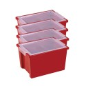 ECR4KIDS ELR-0723-RD Large Storage Bins with Lid - Red, CS of 4/EA