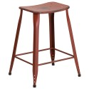 Flash Furniture ET-3604-24-DISRED-GG 24'' High Distressed Kelly Red Metal Indoor-Outdoor Counter Height Stool