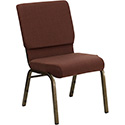 Flash Furniture Hercules Wide Brown Fabric Church Chair w/Gold Frame