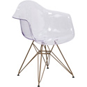 Flash Furniture FH-132-CPC1-GG Allure Transparent Side Chair with Gold Frame