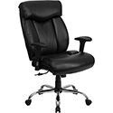 HERCULES Series 400 lb. Capacity Big & Tall Black Leather Executive Swivel Office Chair with Height Adjustable Arms