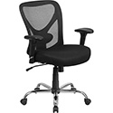 HERCULES Series 400 lb. Capacity Big & Tall Black Mesh Swivel Task Chair with Height Adjustable Back and Arms