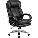 HERCULES Series 24/7 Intensive Use, Multi-Shift, Big & Tall 500 lb. Capacity Black Leather Executive Swivel Chair with Loop Arms