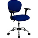 Mid-Back Blue Mesh Swivel Task Chair with Chrome Base and Arms