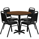 Flash Furniture HDBF1004-GG 36'' Round Walnut Laminate Table Set with 4 Black Trapezoidal Back Banquet Chairs
