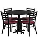 Flash Furniture HDBF1005-GG 36'' Round Black Laminate Table Set with 4 Ladder Back Metal Chairs - Burgundy Vinyl Seat