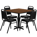 Flash Furniture HDBF1012-GG 36'' Square Walnut Laminate Table Set with 4 Black Trapezoidal Back Banquet Chairs