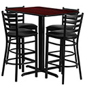 Flash Furniture HDBF1018-GG 24''W x 42''L Rectangular Mahogany Laminate Table Set with 4 Ladder Back Metal Bar Stools - Black Vinyl Seat