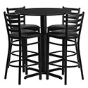 Flash Furniture HDBF1021-GG 30'' Round Black Laminate Table Set with 4 Ladder Back Metal Bar Stools - Black Vinyl Seat